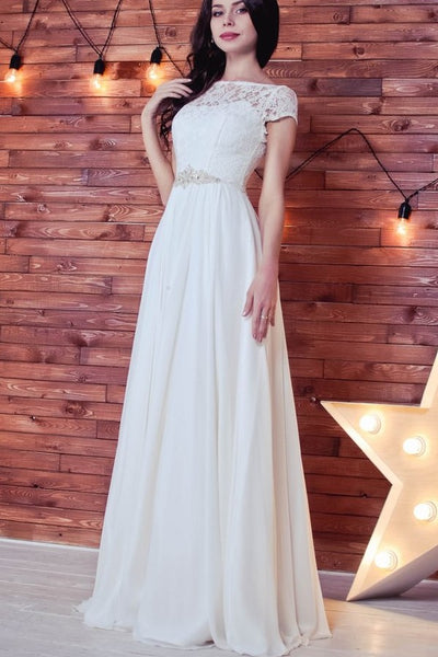 chiffon-floor-length-wedding-dress-with-lace-sleeves