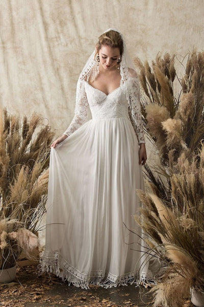 chiffon-lace-sleeves-boho-bride-dress-with-tassel-hem