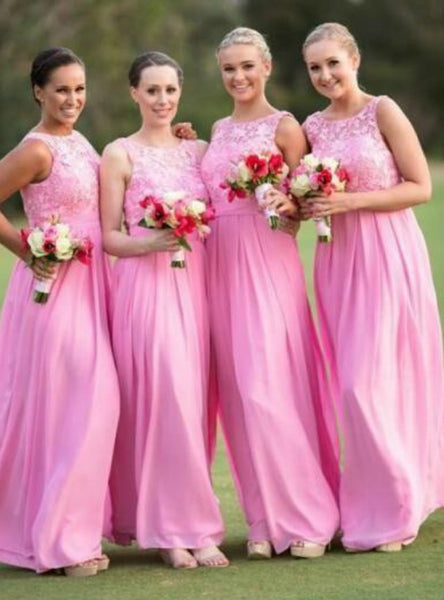 chiffon-long-pink-bridesmaid-dresses-with-lace-bodice-2