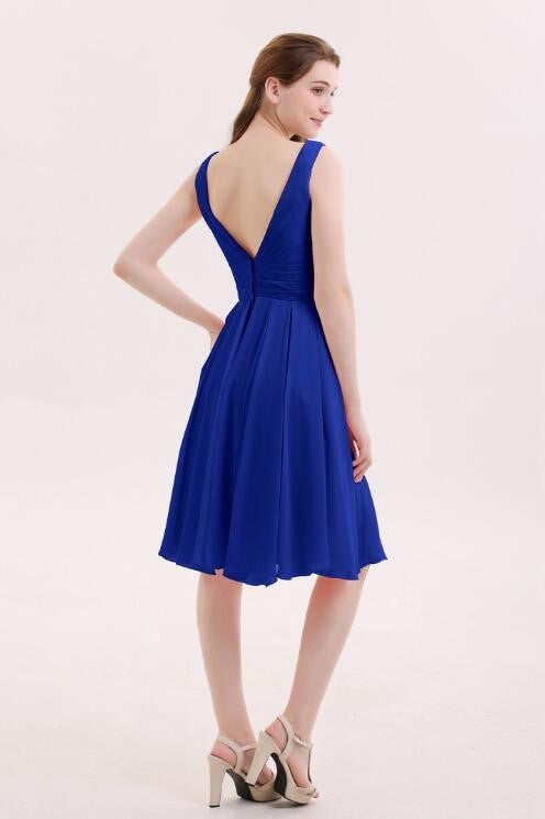 chiffon-royal-blue-bridesmaid-short-dresses-with-v-neckline-1