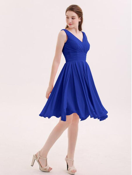 chiffon-royal-blue-bridesmaid-short-dresses-with-v-neckline-2