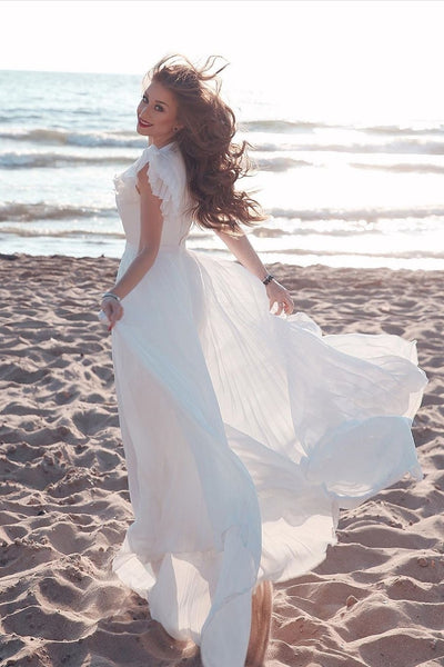 chiffon-summer-bridal-dresses-with-pleat-flare-sleeves-2