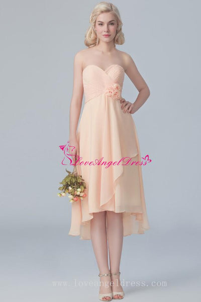 chiffon-sweetheart-hi-lo-bridesmaid-dresses-with-flower-sash