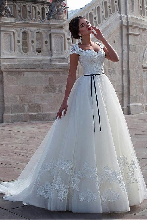 Classic Lace Cap Sleeves Wedding Dress With Black Belt Loveangeldress