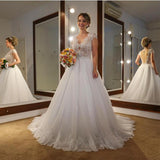 classic-lace-capped-sleeves-wedding-dresses-with-tulle-train-2