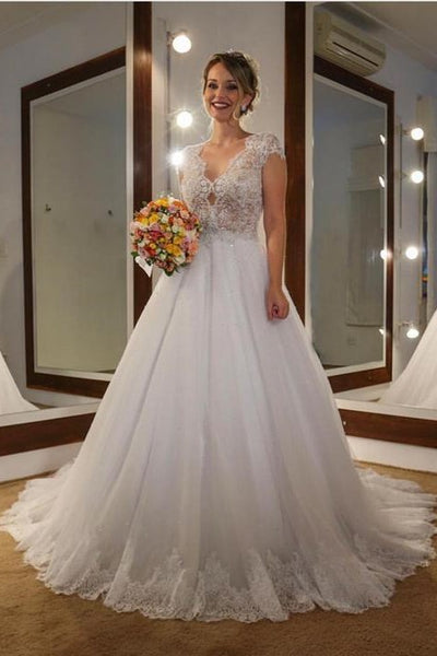 classic-lace-capped-sleeves-wedding-dresses-with-tulle-train