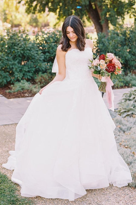 Off-the-shoulder Lace Sleeve Wedding Gown with Satin Skirt
