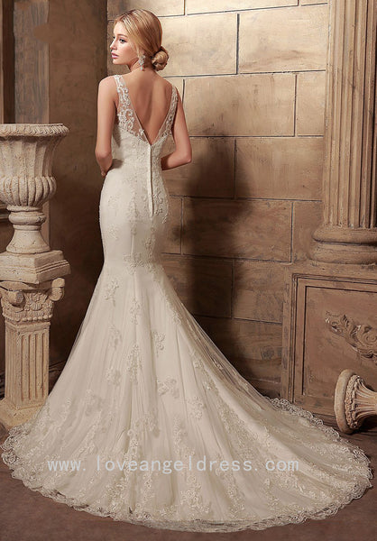 classic-v-neckline-mermaid-wedding-dress-lace-chapel-train-1
