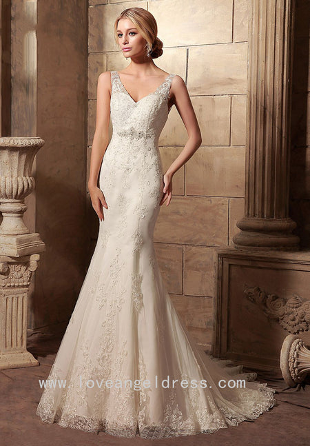 Off-the-shoulder Lace Sheath Wedding Gown with Tulle Train