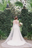 close-fitting-plunging-v-neck-satin-wedding-dress-gowns-with-detachable-cape