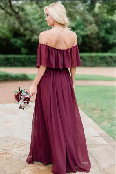 Colorful Chiffon Bridesmaid Dress with Flowy Off-the-shoulder