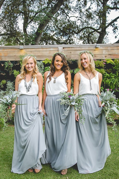 contrast-color-boho-bridesmaid-dress-with-chiffon-skirt