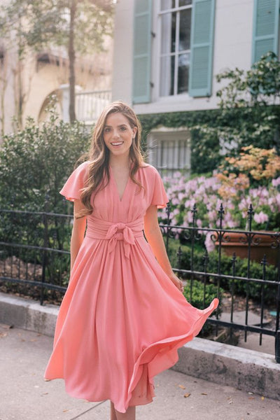 coral-chiffon-modest-bridesmaid-dresses-short