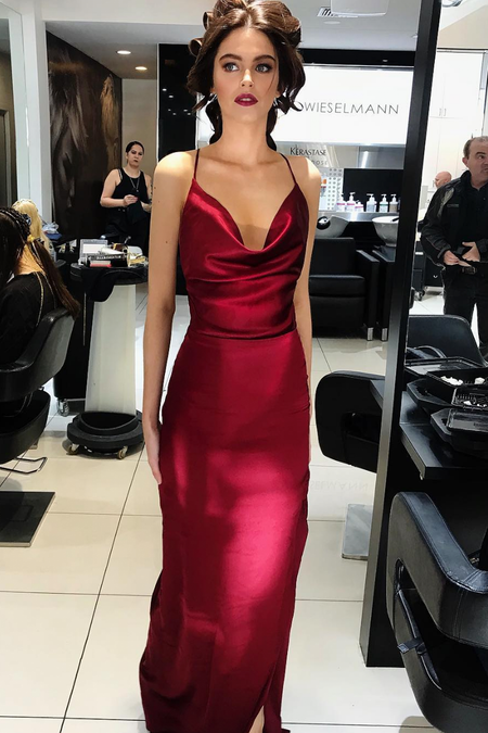 Plunging V-neck Burgundy Velvet Evening Dresses