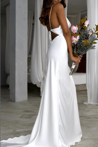 cowl-neckline-white-simple-wedding-gown-with-thin-straps