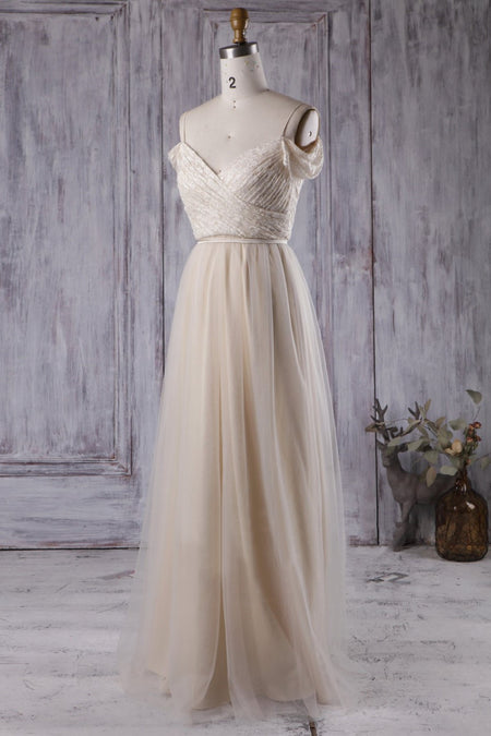Satin V-neckline Ivory Bride Dresses with Tulle Skirt