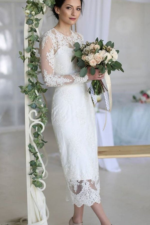 crew-neckline-lace-tea-length-wedding-dresses-long-sleeves