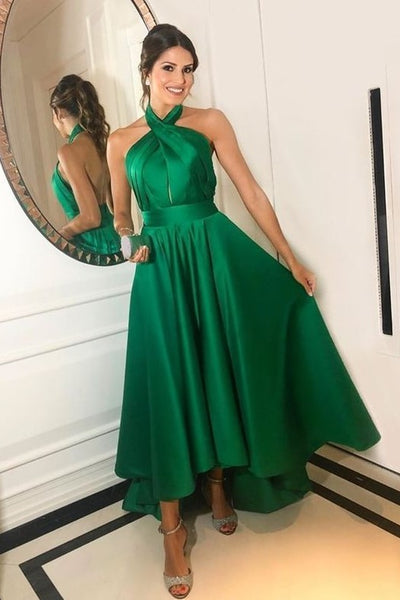 crossed-halter-green-prom-dress-short-satin-skirt