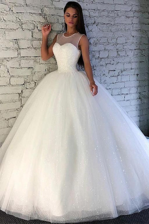 crystals-ball-gown-illusion-neckline-bridal-dress-with-sequin-tulle-skirt