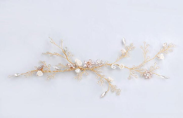 Crystals Wedding Headpiece Rhinestones Flower Bridal Hairpin Chuck Jewelry
