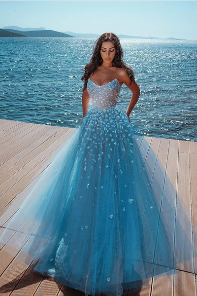 curved-strapless-blue-prom-dresses-sequins-formal-gown