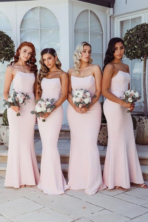 curved-strapless-light-pink-bridesmaid-dresses-floor-length