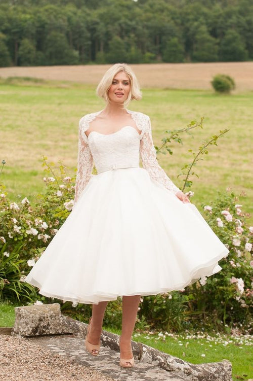 curved-strapless-short-wedding-gown-with-lace-jacket