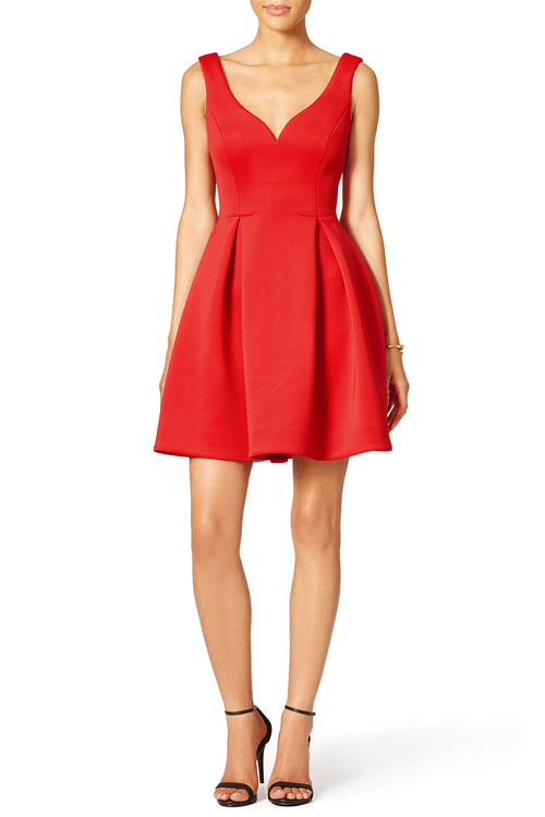 Curved V-neck Satin Red Homecoming Dresses 2020 Mini Gown