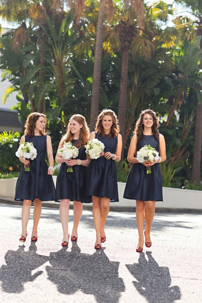 dark-navy-bridesmaid-dress-short-wedding-party-gown-simple