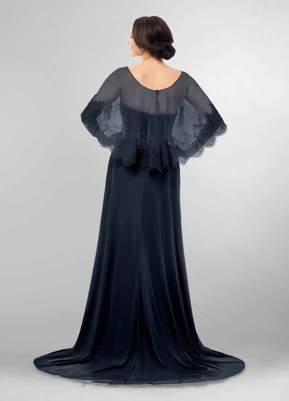dark-navy-mothers-wedding-party-dresses-with-lace-cape-1