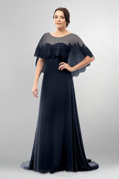 dark-navy-mothers-wedding-party-dresses-with-lace-cape