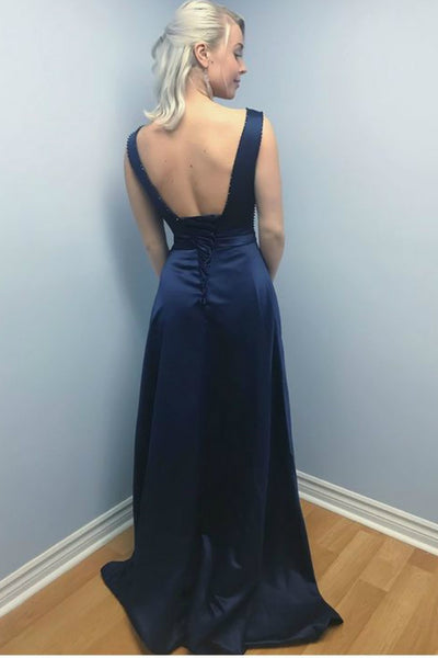dark-navy-satin-evening-dresses-with-sheer-beaded-neckline-1