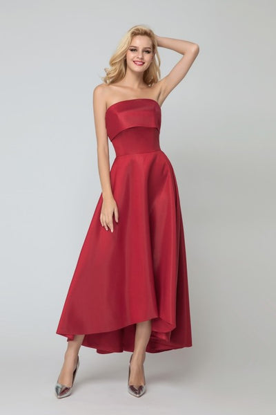 dark-red-satin-brides-maid-dresses-with-asymmetrical-hem-2