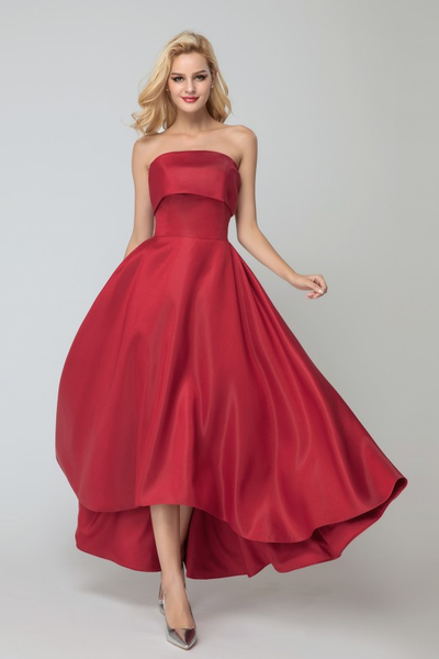 dark-red-satin-brides-maid-dresses-with-asymmetrical-hem
