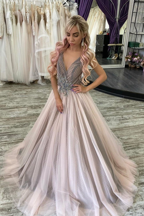 deep-v-neck-dots-tulle-prom-dress-with-beaded-sash