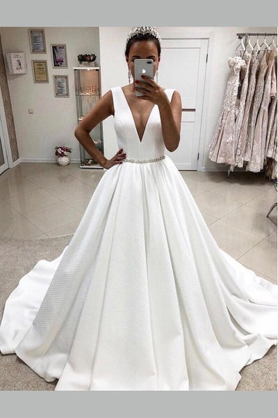 deep-v-neck-satin-bridal-dresses-with-beaded-belt
