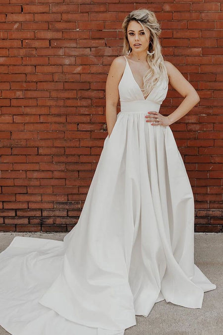 Plunging Neckline Satin Simple Wedding Gown with Pockets