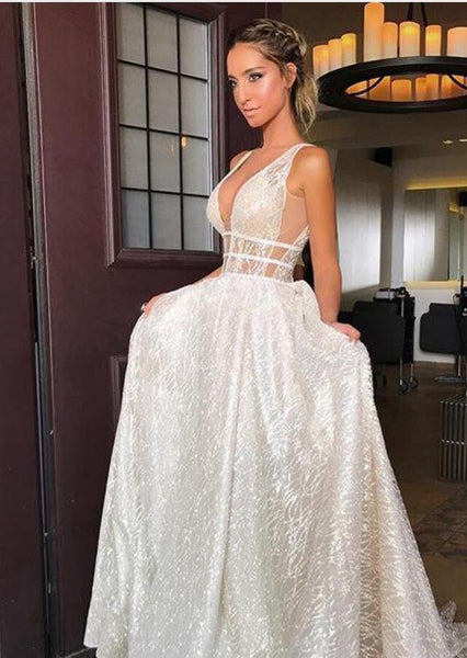deep-v-neckline-sequin-wedding-dresses-with-open-back