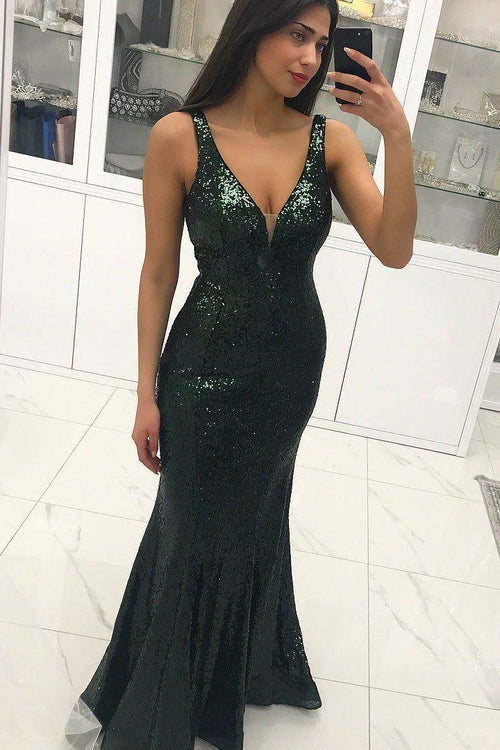 deep-v-neckline-sequins-dark-green-formal-dresses-near-me