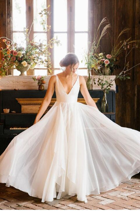 Unique Neckline Satin Wedding Gown with Pockets