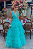 deep-v-neckline-tulle-prom-dress-tiered-skirt-long-party-gowns