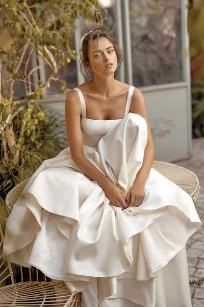 Double Straps Satin Simple Bride Dress Wedding 2020