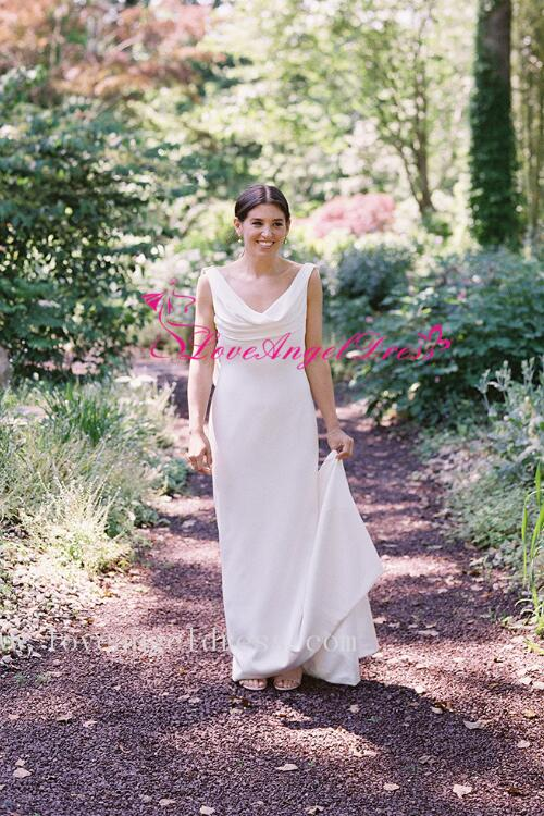 draped-neckline-slim-simple-outdoor-wedding-dress