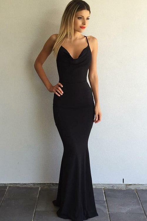 889ffeb7fb draped-v-neckline-mermaid-black-simple-prom-gown-