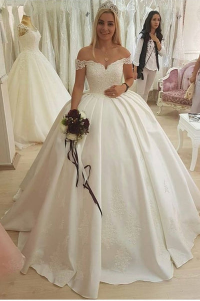 dreamy-lace-and-satin-ball-gown-wedding-dresses-off-the-shoulder