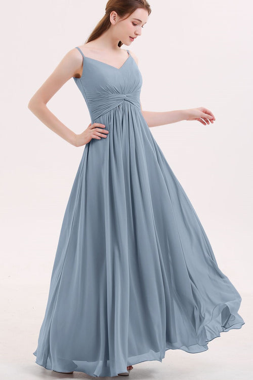 dusty-blue-bridesmaid-dresses-long-chiffon-skirt-vestido-de-la-dama-de-honor