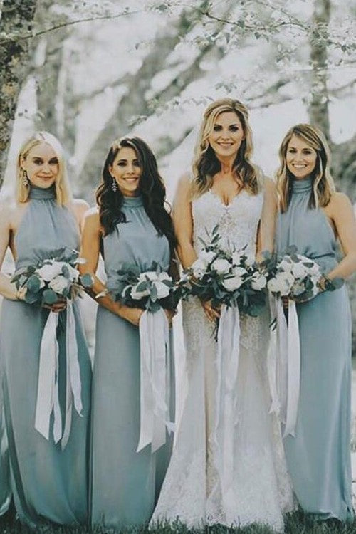 dusty-blue-chiffon-bridesmaid-dresses-with-halter-neckline