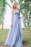 dusty-blue-long-backless-bridesmaid-gown-with-tulle-sash