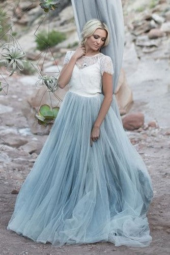 d017bcf177afa Dusty Blue Tulle Wedding Dress with Removable Lace Top – loveangeldress