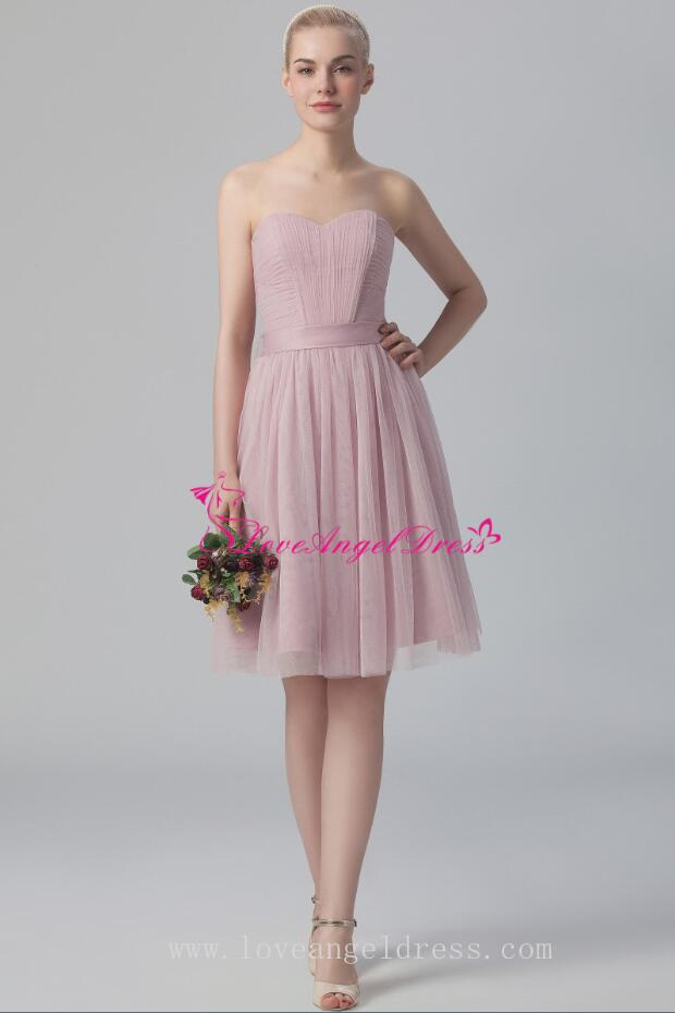 801fb34e8e Dusty Pink A-line Tulle Short Wedding Guests Dresses with Belt ...